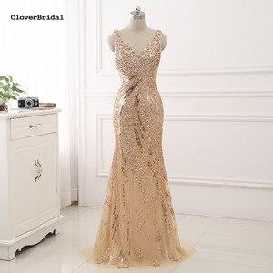 CloverBridal De alta calidad color champaña Luxo sirena cuello V profunda frisada Vestido De Desta Formatura Para Casamento Vestido