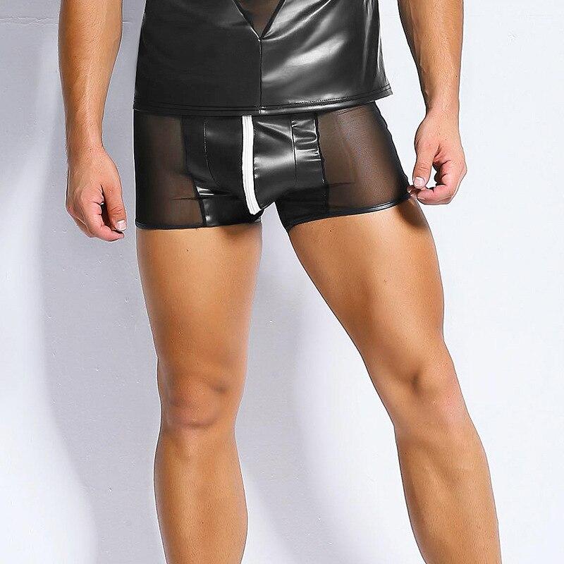 CFYH Sexy Imitate PU Leather Men 39 s Boxer Sexy Erotic Men 39 s Boxer Hot Popular Man Mesh Zip Bodysuit Low rise Men Boxer in Boxers from Underwear amp Sleepwears