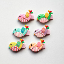 30pcs/lot Acrylic Birds Hair Clips Wholesale Bestseller Cartoon Animals Hairpins Mini Size Kids Girls Pink Barrettes 7 Colors