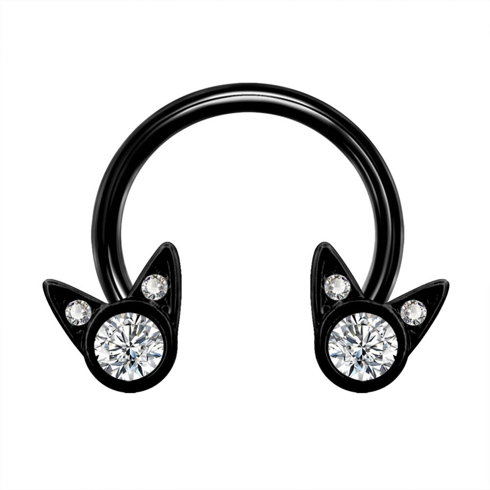 Body Punk 16G Nose Ring Septum 316L Stainless Steel Black CZ Cute Cat Horseshoe Circular Barbell Cartilage Daith Earring Jewelry in Body Jewelry from Jewelry Accessories