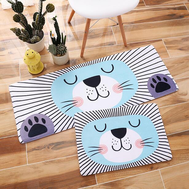 1pcs Cartoon lovey face carpet home kitchen doormat Restroom Coral Fleece Living Room Carpet Children Kids Bedroom Rug pet mat