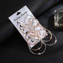 6 Pair/set Fashion Women Earrings Trendy Geometric Earrings Charm Metal Round Earrings Set For Women Accessories Jewelry Gift pair of graceful faux gem rivet geometric earrings for women