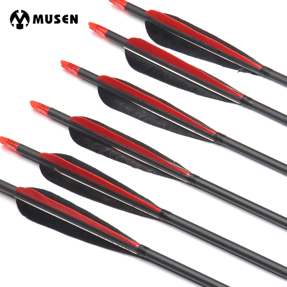 6/12/24pcs 80cm Spine 500 Carbon Arrows OD7.6mm ID6.2mm With 2 Black And 1 Red Turkey Feather For Hunting Shooting Archery