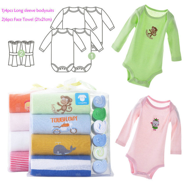 578391ec5438d Baby Clothing Long Sleeve Baby Gift Set Infant Clothing New Born Gifts Box  Carter's Rompers+towels 3m-12m 0017 free Shipping