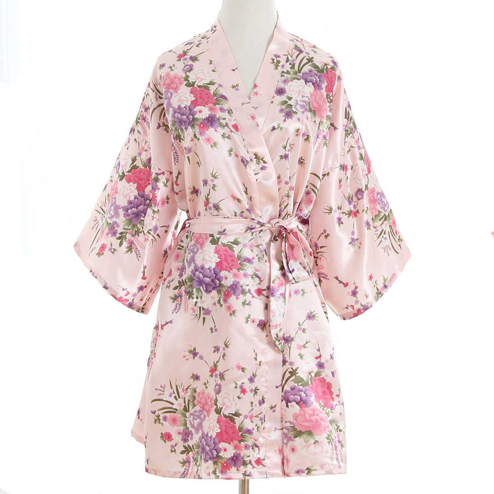 46a0591486 Sexy Pink Plus Size Brides Wedding Robe Dress Women s Elegant Print Satin  Nightwear Flowers Kimono Bathrobe