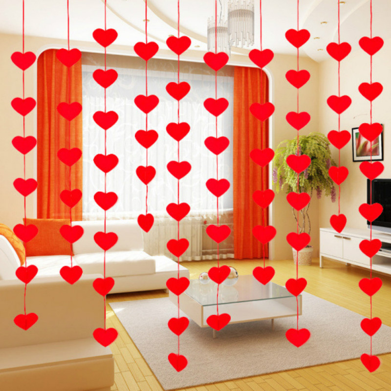 Love Heart Curtain Non-woven Garland Flags Banner Wedding Supply House Decor vbu
