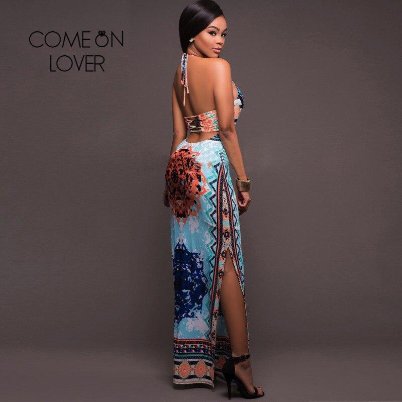 Buy Cheap Comeonlover Boho Vintage Long Dress Flowered Halter Backless Tropical Vestidos RI80424 Split Beach Summer Robe Femme Ete 2017
