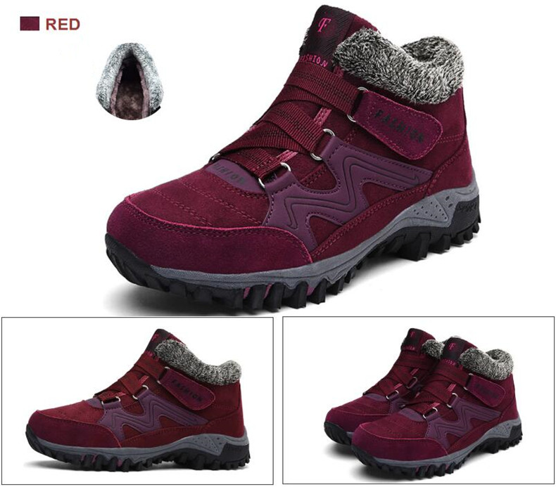 STS BRAND 2019 New Winter Ankle Boots Women Snow Boots Warm Plush Platform Boot Fashion Female Wedge Shoes Snow Waterproof shoes (11)