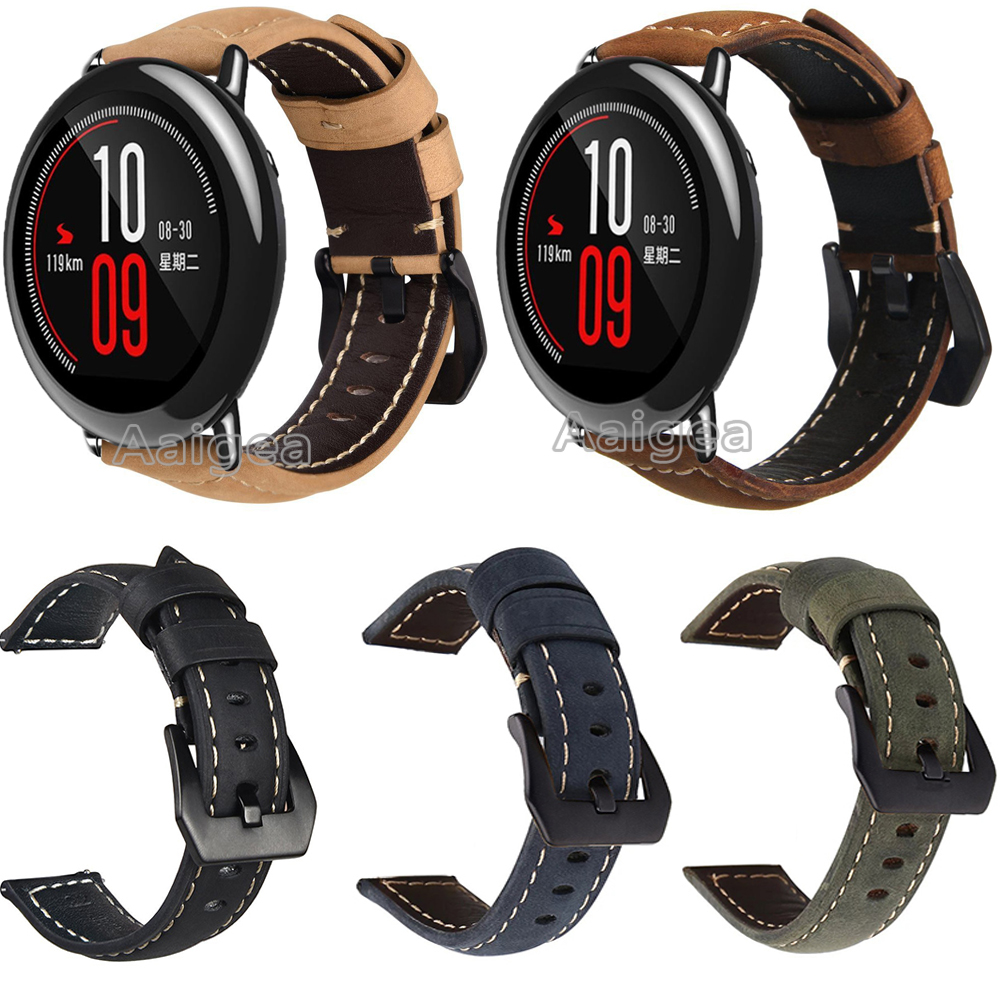 Genuine Leather Watch Band Strap For Xiaomi Huami Amazfit Pace Smart Watch Classic Black Buckle Replacement Soft Wristband Strap