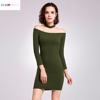 [Clearance Sale] Elegant Cocktail Dress Ever Pretty AS05927 Women Off Shoulder Chocker Bodycon Short  Cocktail Party Dresses