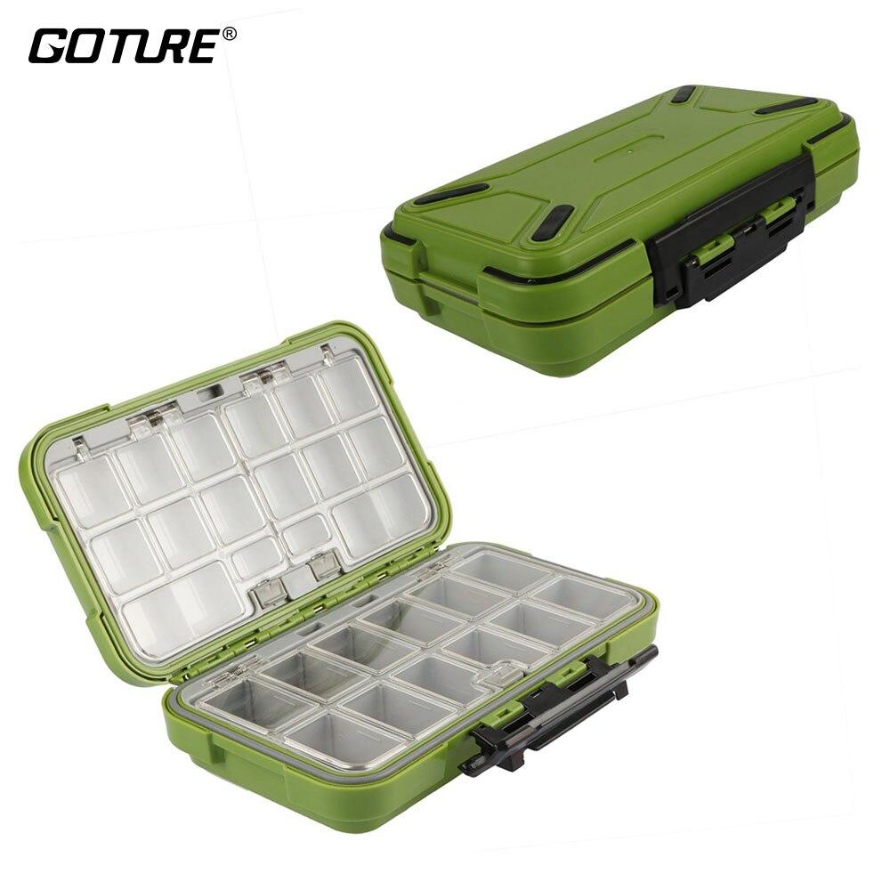 Goture nuevo diseño cajas de pesca doble capa 30 compartimentos pesca caja S/M/L pesca con mosca cajas de aparejos Accesorios