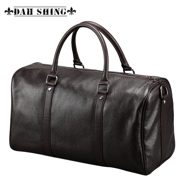 Fashion Brown Black men grained leather duffle bag men leather travel bags  cowhide luggage bag handbag44 26cm ac480cdb835cc