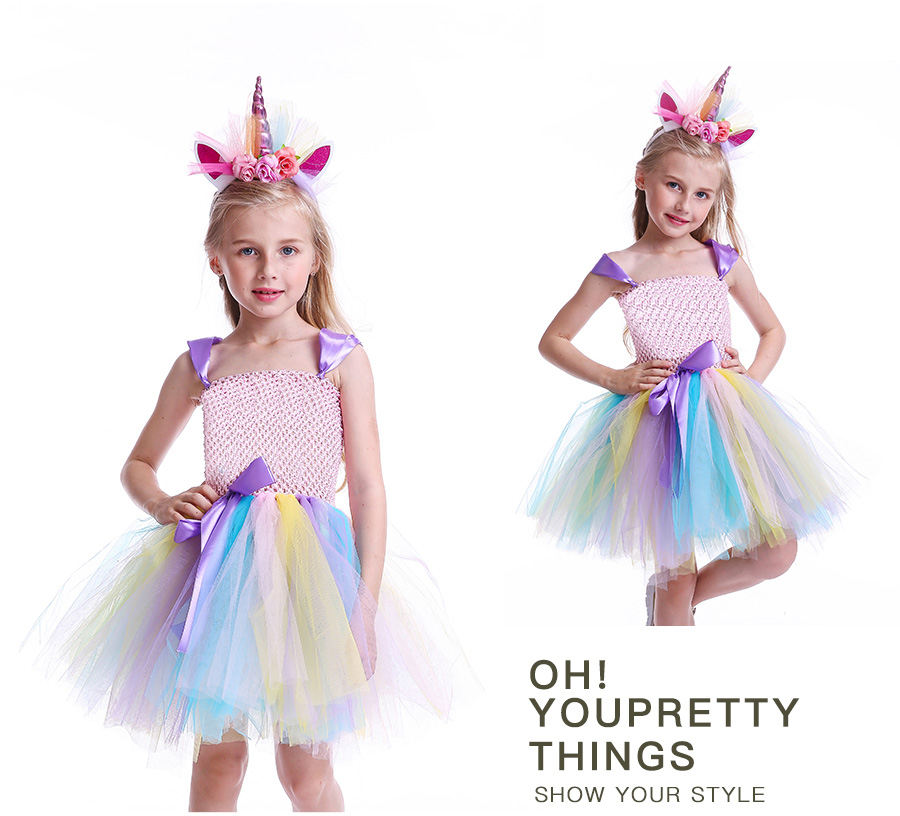 Girls Rainbow Tutu Dress with Unicorn Headband Children Princess Fancy Party Dress Christmas Halloween Kids Pony Costume (7)