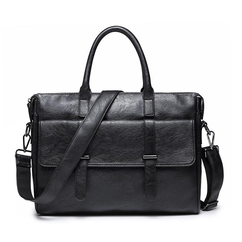 KUDIAN BEAR Simple Famous Brand Business Men Briefcase Bag Luxury Leather Laptop Bag Man Shoulder Bag Bolsa Maleta BIG001 PM30
