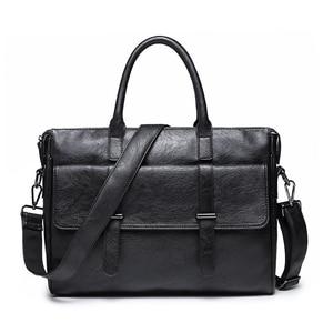 Image 1 - KUDIAN BEAR maletín sencillo de cuero para hombre, famosa marca, negocios, portátil, de hombro, BIG001, PM49