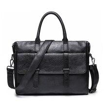 Simple Famous Brand Business Men Briefcase Bag Luxury Leathe