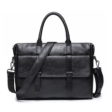 Simple Famous Brand Business Men Briefcase Bag Luxury Leather Laptop