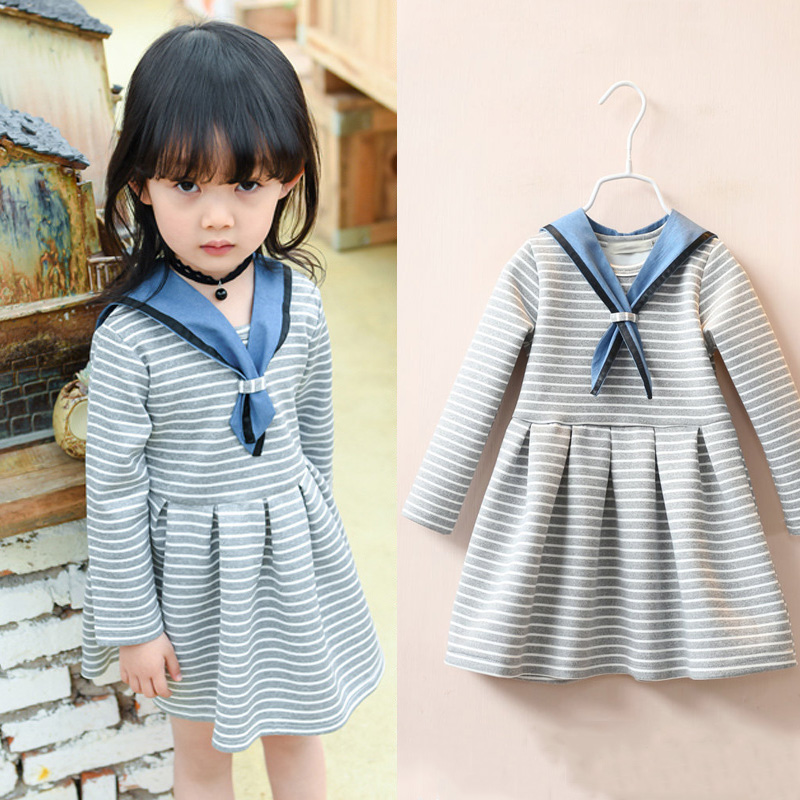 New Autumn Little Girls Striped A Line Dresses Cotton Long Sleeve Nautical Collar Baby Girl Sailor Dress Kids Clothing