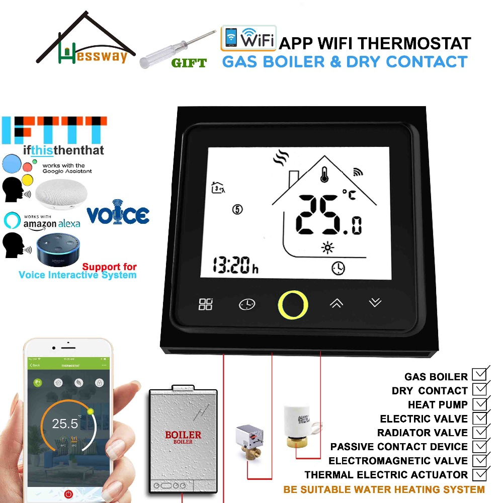 EU 3A Valve Radiator Linkage Controller Wireless Wall Mounted Gas Boiler Thermostat WIFI For Dry Contact &Passive Contact