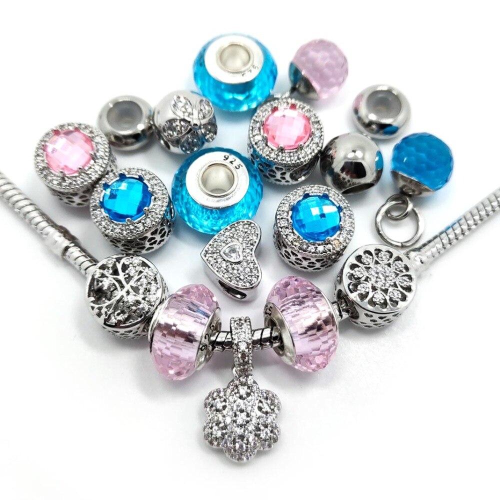 25cd88710 Free Shipping New 20pcs mix Style Pink and Lake Blue Micro-set Rhinestone  Charms Beads fit European Pandora Bracelet DIY