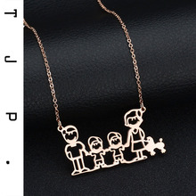 Father Mother Kids Dog Family Choker Necklaces For Women Boho Jewelry Cheap Stainless Steel Long Necklace Collier Femme