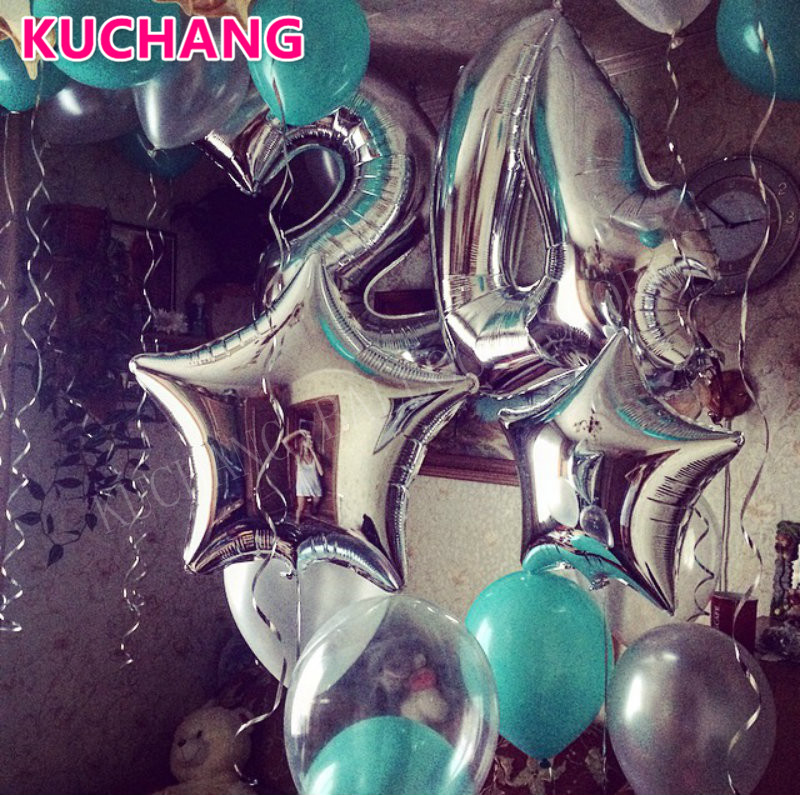 19pcs/set 40 inch silver number 24 + 18 inch stars foil + Lake blue silver transparent latex balloons 24th birthday party decor glass bottle