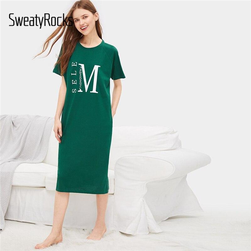 SweatyRocks Green Letter Print Night Dress Summer Women 2019 Casual Loose   Nightgown   Short Sleeve Womens   Sleepshirts