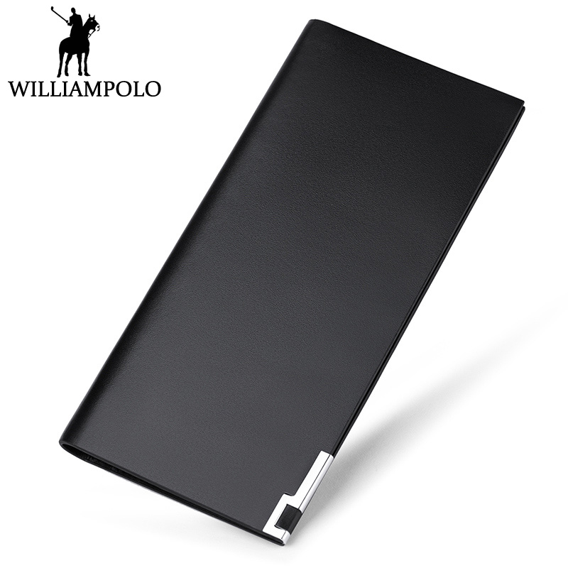 WILLIAMPOLO Minimalist Long Clutch Wallet Men Genuine Leather Fashion Ultra Thin Purse 13 Card Holder Boyfriend Gift Love Wallet williampolo 2017 card wallet men 10 card slots genuine leather button closure fashion long men wallet polo174