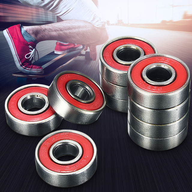 10pcs/lot  608 2RS Inline Roller Skate Wheel Bearing Blacken 2.1 x 2.1 x 0.7cm Skateboard Wheel Bearing Red Sealed ABEC-5