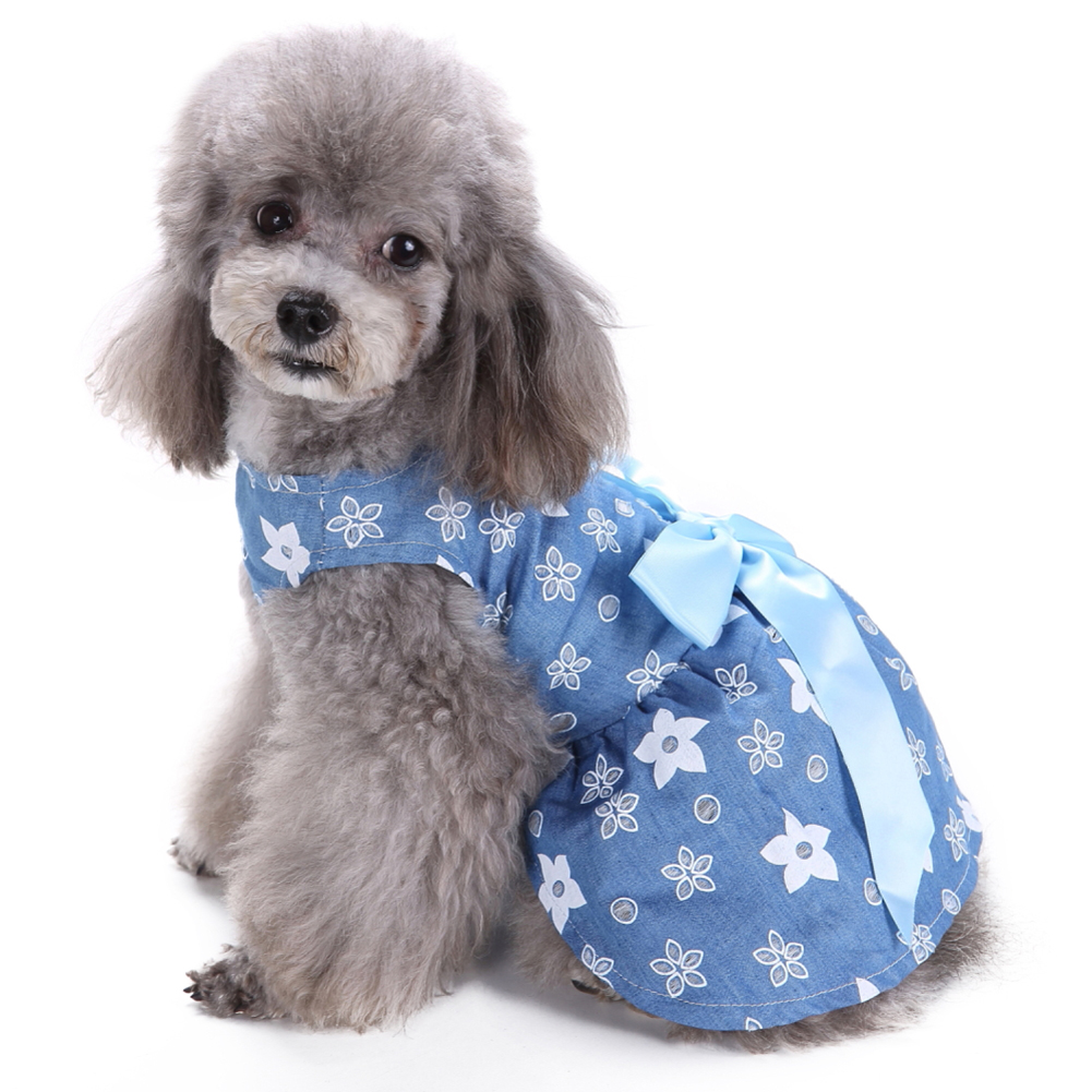 Stylish Big Ribbon Bowknot Flower Floral Dog Dress Cat Puppy Pet Clothes Apparel