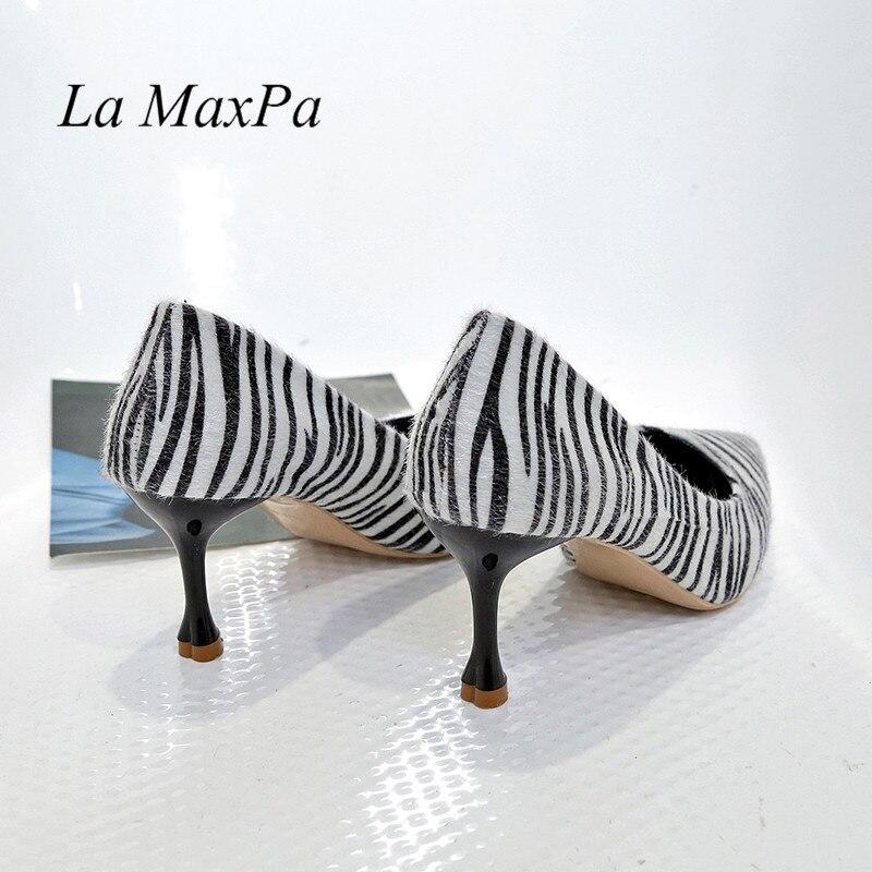 La MaxPa Woman 7 CM Ultra High Heels Shoes Plus Size 34 - 39 Party Wedding Pumps Zebra Stripe Pointed Toe Sexy Pumps 2019 Ladies 4