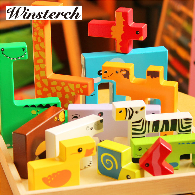 Baby Wooden Tangram Brain Teaser Jigsaw Animals Block Toys Tetris Game Kids Children Educational Toys Set ZS063 baby kids children wooden toys alphabet number building jigsaw puzzle snake shape funny digital puzlzle game educational toys