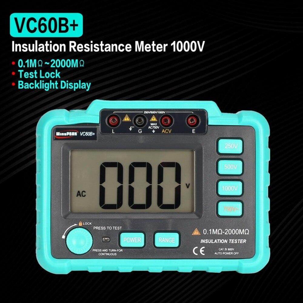 VC60B+ 1000V Digital Auto Range Insulation Resistance Meter Tester Megohmmeter Megger High Voltage LED Indication 1999 Counts new digital insulation megger tester meter vc60b 250v 500v 1000v