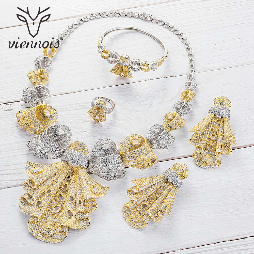 Viennois Gold / Mixed Color Necklace Set For Women Geometric Dangle Earrings Ring Bracelet Set Party Jewelry Set 2019Viennois Gold / Mixed Color Necklace Set For Women Geometric Dangle Earrings Ring Bracelet Set Party Jewelry Set 2019