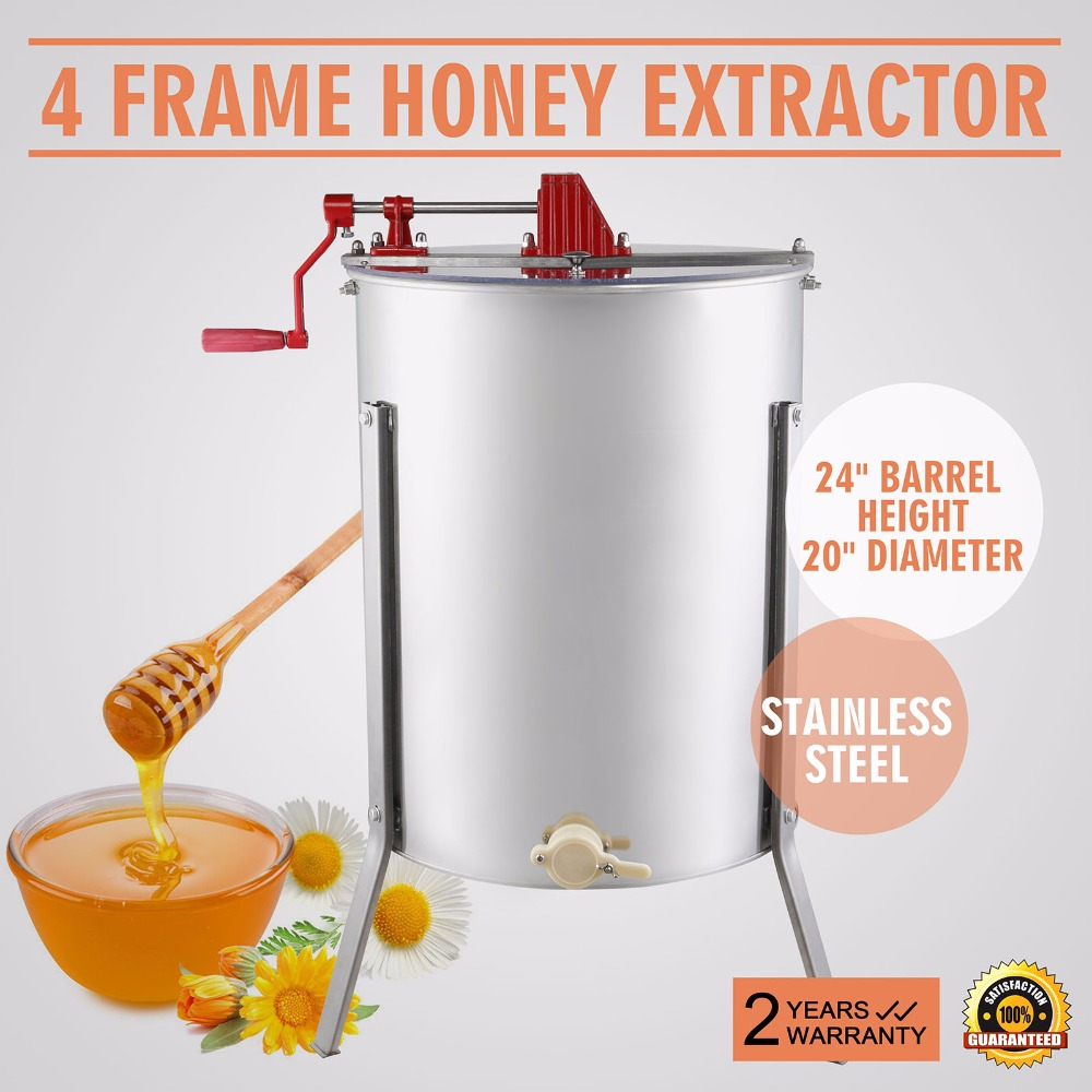 Manual Madu Extractor Baru Besar Empat 4 Frame Stainless Steel Manual Madu Extractor title=