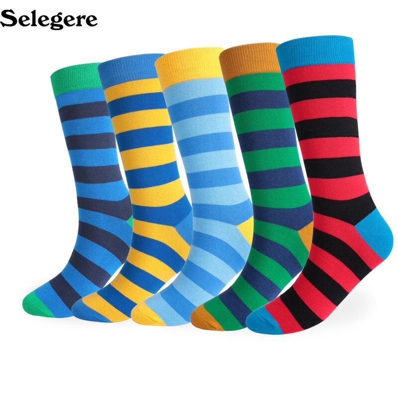 5pcs/lot 2018 autumn and winter thickening large long stripe striped men's socks cotton deodorant men socks