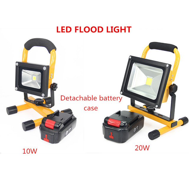 10w 20w Waterproof Led Refletor Spotlight Floodlight Portable Camping Light Rechargeable Lithium Battery Outdoor Security