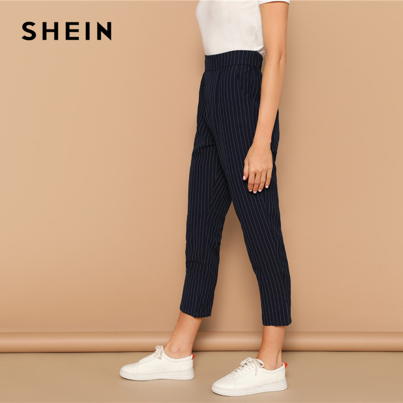 SHEIN Navy Vertical-stripe Peg Leg Pants Women Crop Trousers Office Lady 2019 Spring Office Lady Casual Workwear Pencil Pants 2
