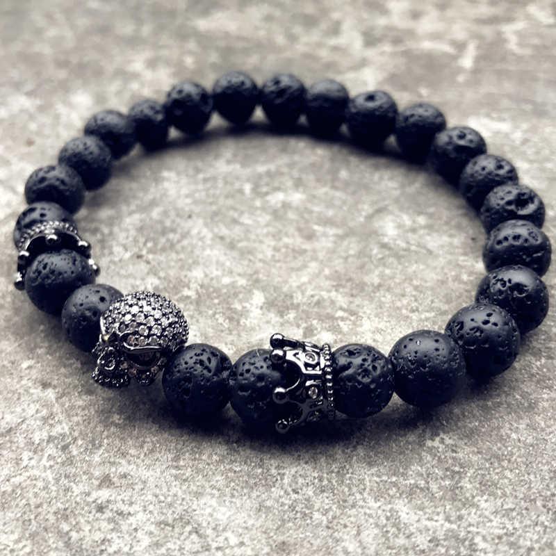 Модный бренд натуральный браслет из бусин микро Pave CZ скелет череп браслет из натурального камня энергии для мужчин европейские украшения с Буддой