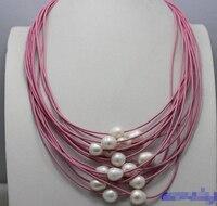 DARMOWA wysyłka>>>>>> Białe słodkowodne perły 15 nici różowy skóra naszyjnik 19-23