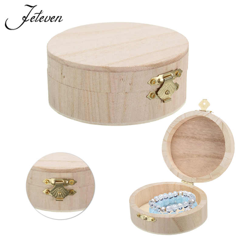 Simple Portable Jewelry Storage Boxes Round Wooden Box Jewelry