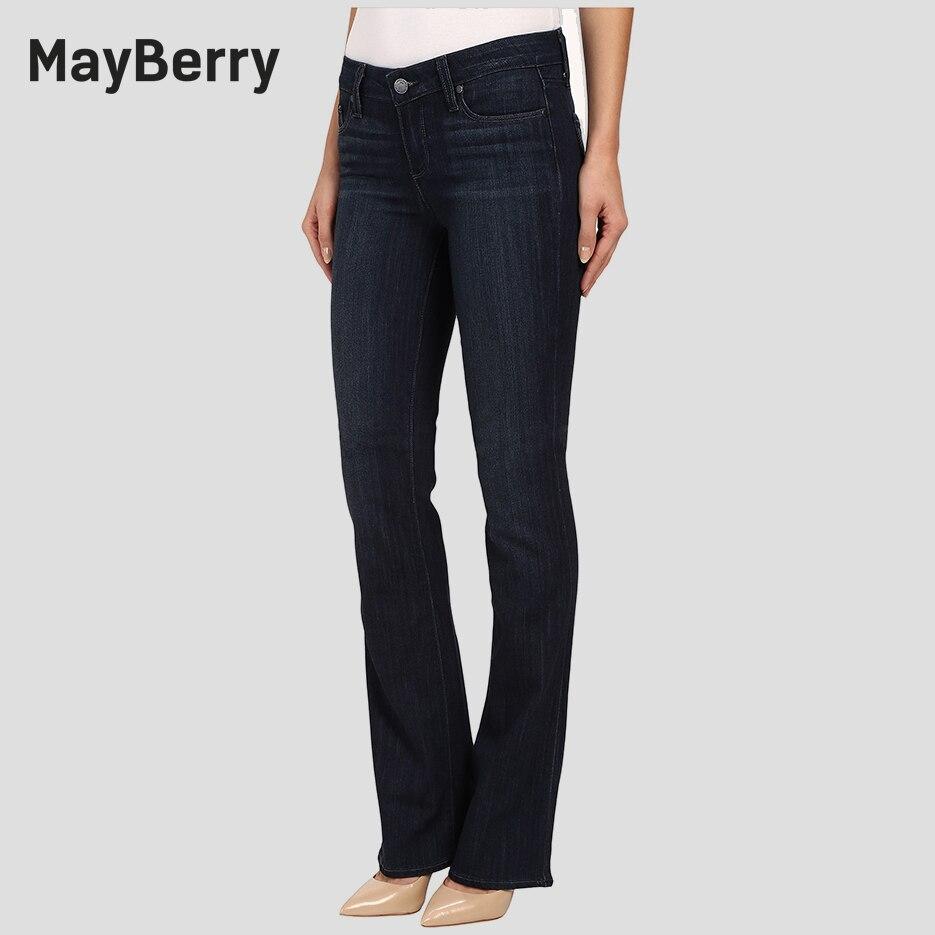 Мейберри Джинсы для женщин Женские ботинки с Джинсы для женщин Slim Flare Джинсы для женщин Mid Rise коллекция в глубокий черный синий Индиго 88165