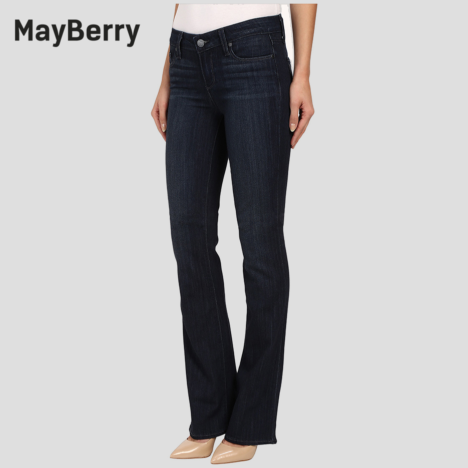 MayBerry Jeans Women's Boot Cut Jeans Slim flare jeans Mid-Rise collection in deep black blue Indigo 88165