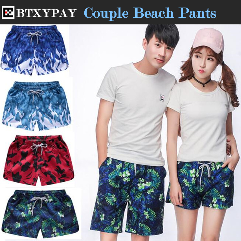 Summer Men&Women Exercise Fitness Holiday Casual Shorts Quick-dry Loose Printed Board Shorts Couple Beach Shorts Big Yards