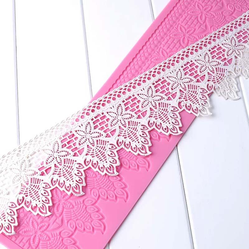 MX108 Blomstermønster Lace Mould Siliconsukker Lace Pad Cake Brim Decoration Mold Køkkenudstyr DIY Tool