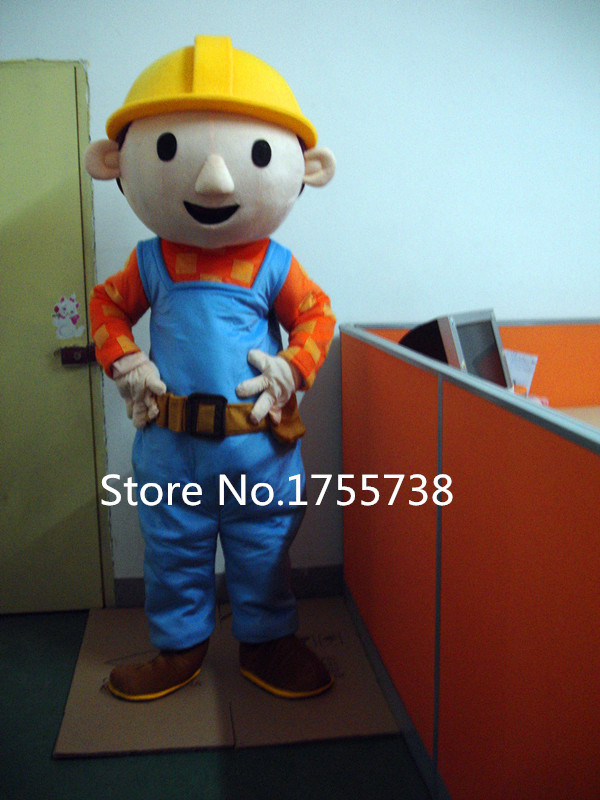 Adult Size Bob The Builder Mascot Costume Cartoon Fancy Dress