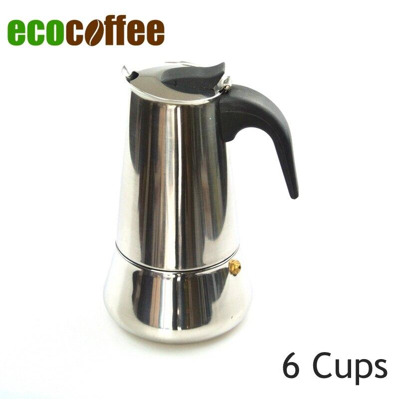 1PC Free Shipping Stainless Steel Espresso Coffee Moka Pot Italian Coffee Percolators 6 Cups
