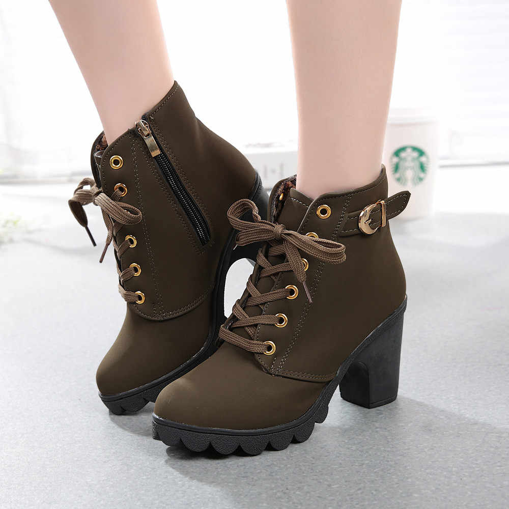 SAGACE Women's Boots 2018 Womens Fashion High Heel Lace Up Ankle Boots Ladies Buckle Platform Shoes Women Solid Shoes Se26
