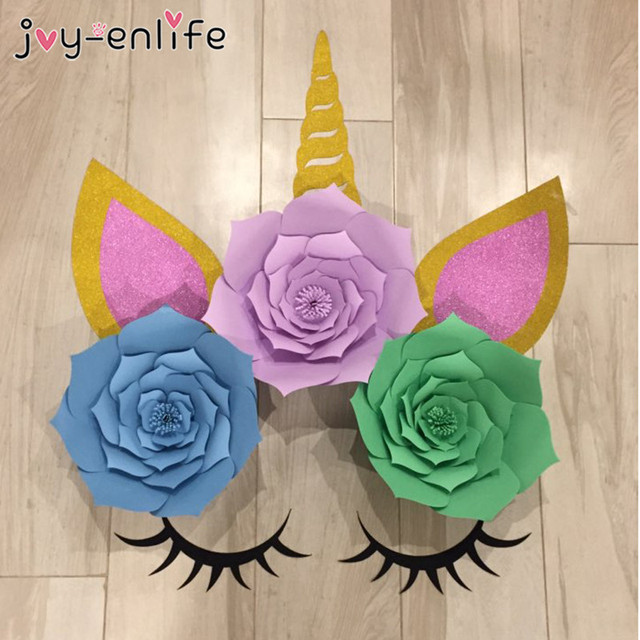 JOY ENLIFE Unicorn Party Decoration DIY Paper Flowers 1st Birthday Banners Cake Toppers Foil Balloons Baby Shower Supplies