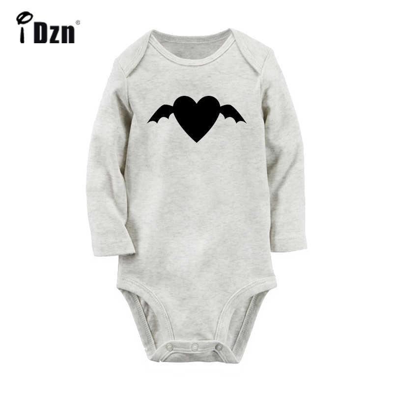 Счастливый Хэллоуин Черный Летучая мышь свободный дизайн сердечко любовь Новорожденный ребенок боди малыш длинный рукав Onsies комбинезон хлопковая одежда